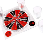 Bar Accessories - Last Man Standing: Spin-The-Wheel Drinking Game With 4 Shot Glasses