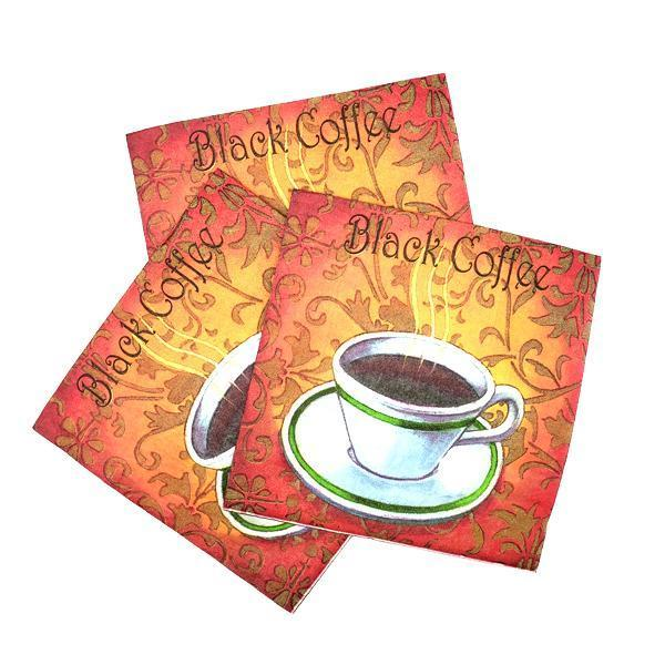 """Black Coffee"" Printed Disposable Table Napkin - Pack Includes 20 Sheets"