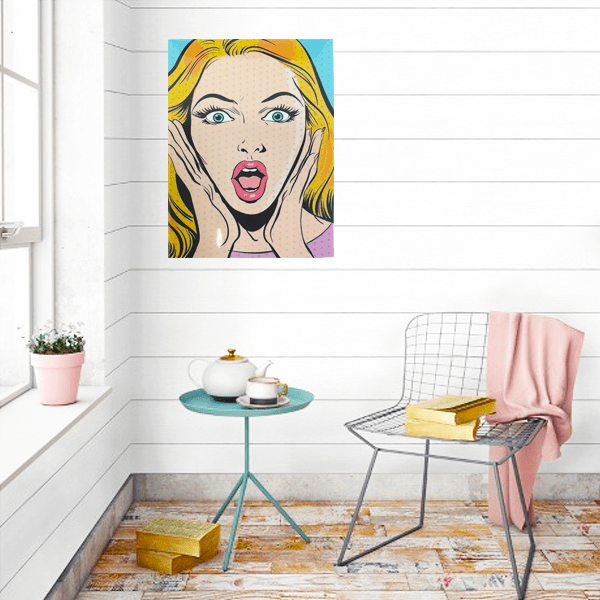 """Comic Blonde Girl"" Metal Wall Decor With Pre-Drilled Holes"