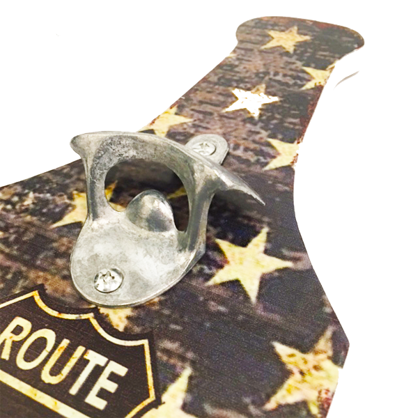 """Route 66"" Mountable Bottle Shaped Wooden Cap Opener and Catcher"