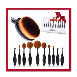 VIP Special - 10 Piece Oval Brush Set - Free Gift: Diva Duo Make-Up Sponges