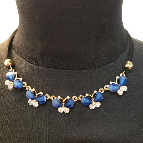 Blue Butterfly Sapphire Choker Style Necklace