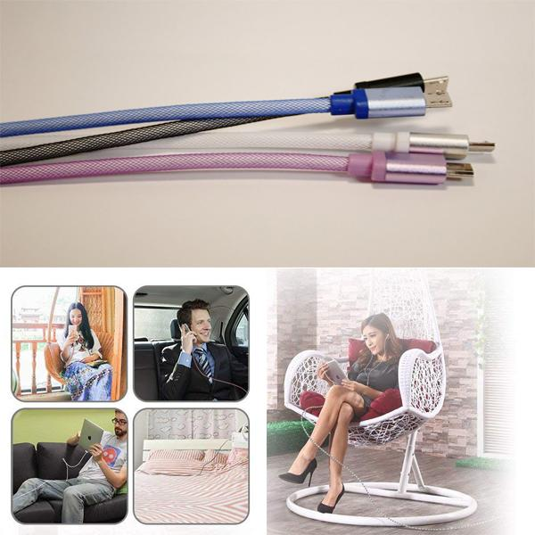 Buy 1 Get 1 Free For ONLY $8.99! 10-Feet Tangle-Free Cables For iPhone & Android