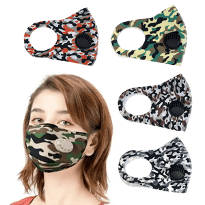 3 Pieces: Camo Face Mask With Built-in Exhalation