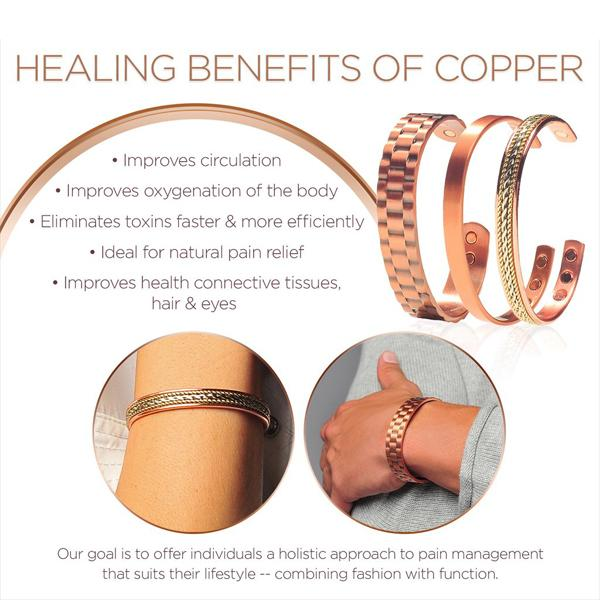 Magnetic Copper Unisex Bracelet Bangle For Pain Relief Therapy