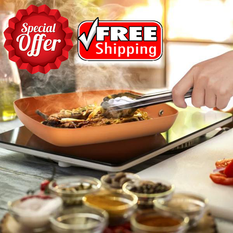 Oven-Safe Square Copper Pan Skillet With Non-Stick Ceramic Coating + FREE SHIPPING!