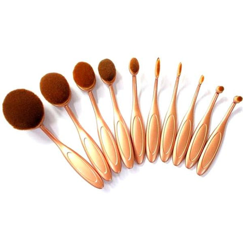 Cosmetics - 10 Piece Oval Brush Set - Black Or Rose Gold