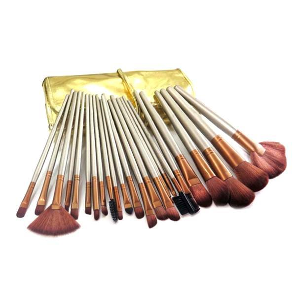 Cosmetics - 24-Piece Professional Chocolate Gold Make Up Brush Set With Leather Case