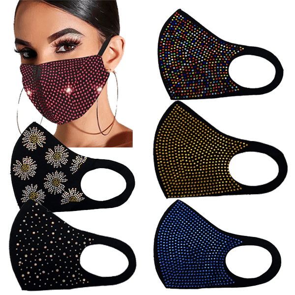 2 Pack: Reusable Rhinestone Fashion Mask