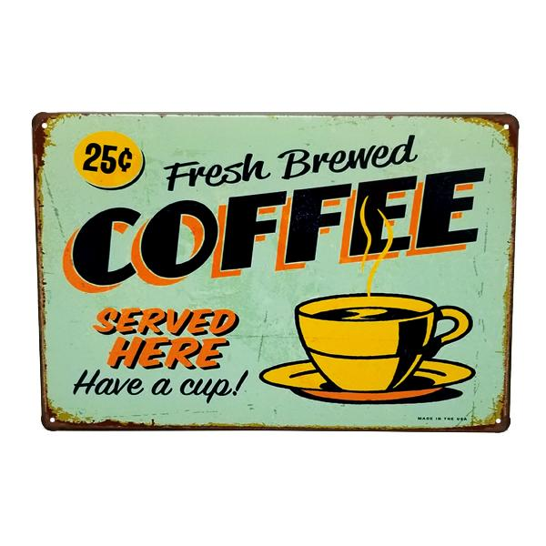 "Decor - ""25 Cents Fresh Brewed Coffee"" Vintage Collectible Metal Wall Decor Sign"
