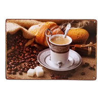 "Decor - Coffee ""Fresh Morning Brew"" Vintage Collectible Metal Wall Decor Sign"