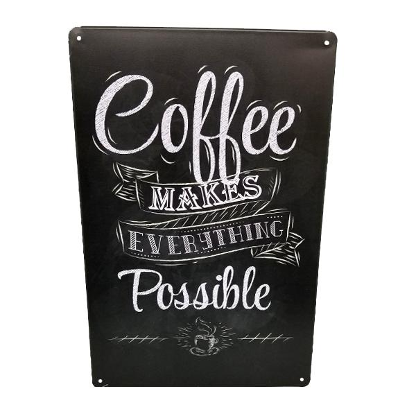 "Decor - ""Coffee Makes Everything Possible"" Vintage Collectible Metal Wall Decor Sign"