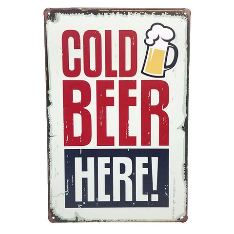 "Decor - ""Cold Beer Here!"" Vintage Collectible Metal Wall Decor Sign"