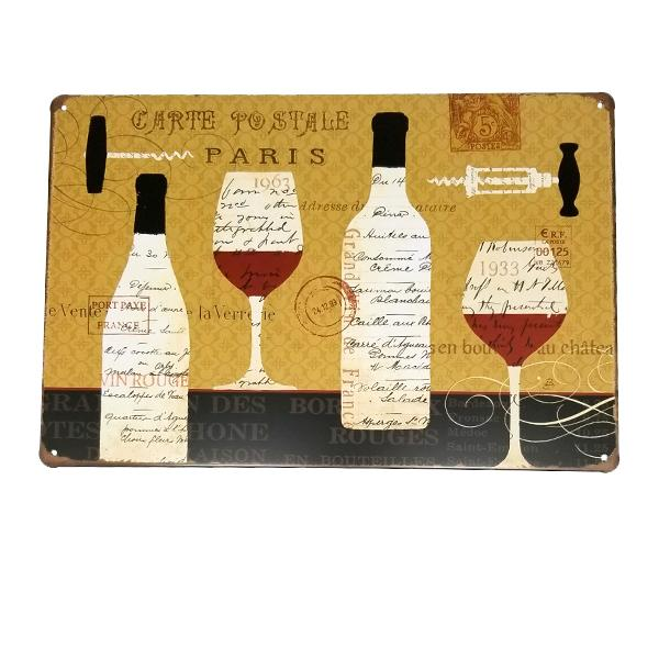 Decor - Paris Wine Postcard Vintage Collectible Metal Wall Decor Sign