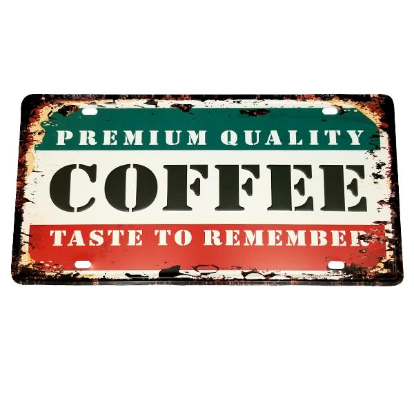 "Decor - ""Premium Quality Coffee"" Vintage License Plate Wall Decor Sign"