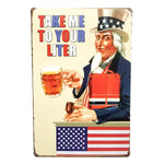 "Decor - ""Take Me To Your Liter"" Vintage Collectible Metal Wall Decor Sign"
