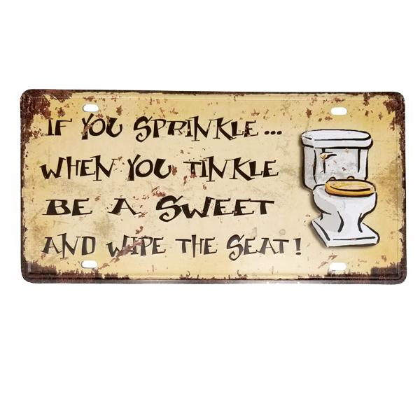 Decor - Toilet Seat Rule Vintage License Plate Wall Decor Sign