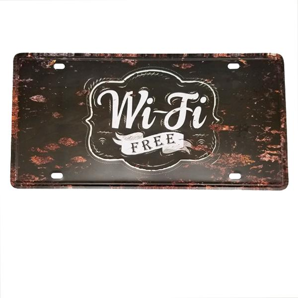 "Decor - ""Wi-Fi Free"" Vintage License Plate Wall Decor Sign"