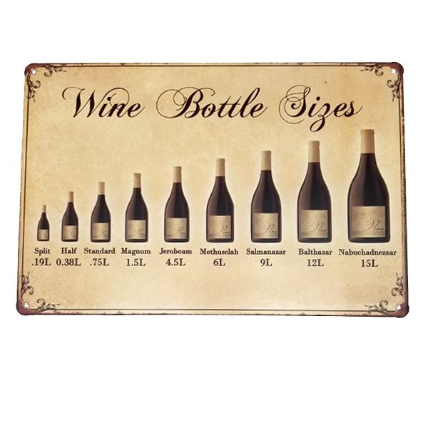 Decor - Wine Bottle Sizes Vintage Collectible Metal Wall Decor Sign