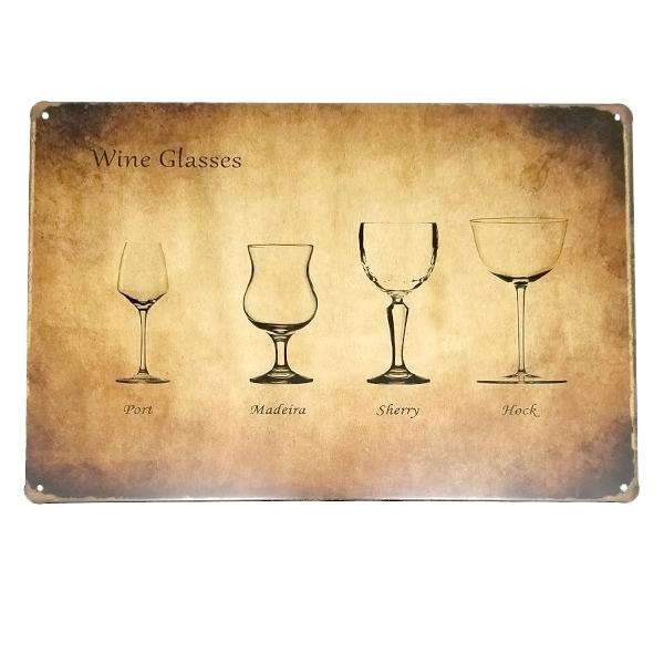 Decor - Wine Glasses Vintage Collectible Metal Wall Decor Sign