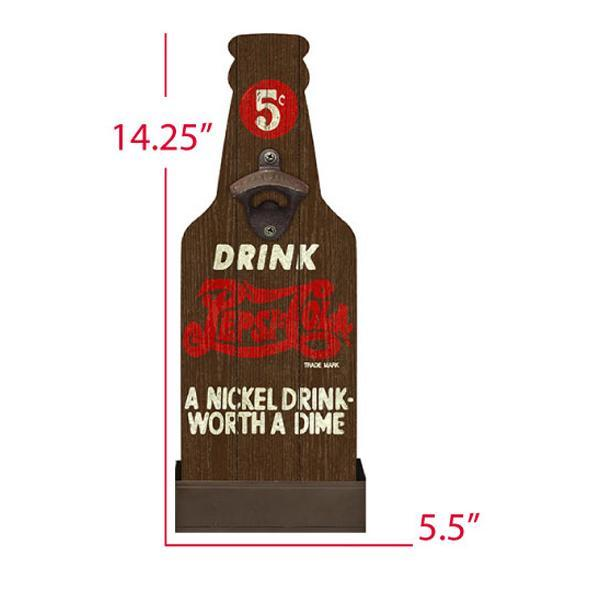 """A Nickel Drink - Worth A Dime"" Mountable Bottle Shaped Wooden Cap Opener and Catcher"