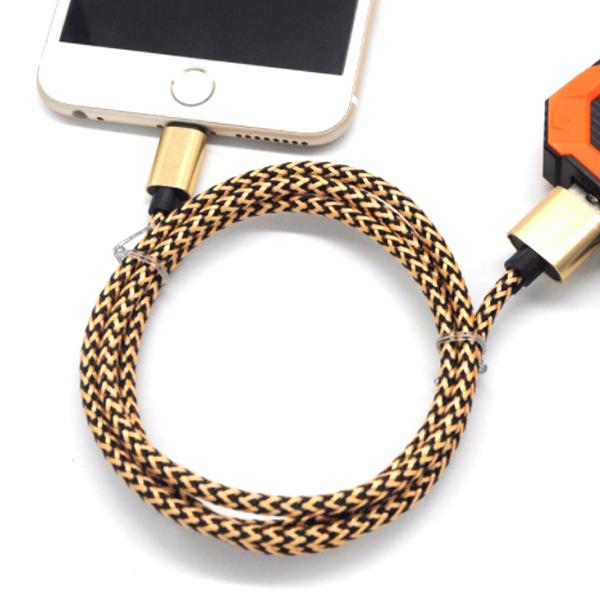 shopify-Nylon Braided Tangle-Free Lightning iPhone Cable With Aluminum Alloy Heads - Assorted Colors (3.3 Ft./1M)-3