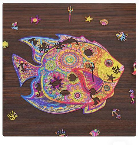 """Mystery Fish"" - Unique Shaped Wooden Jigsaw Puzzles"