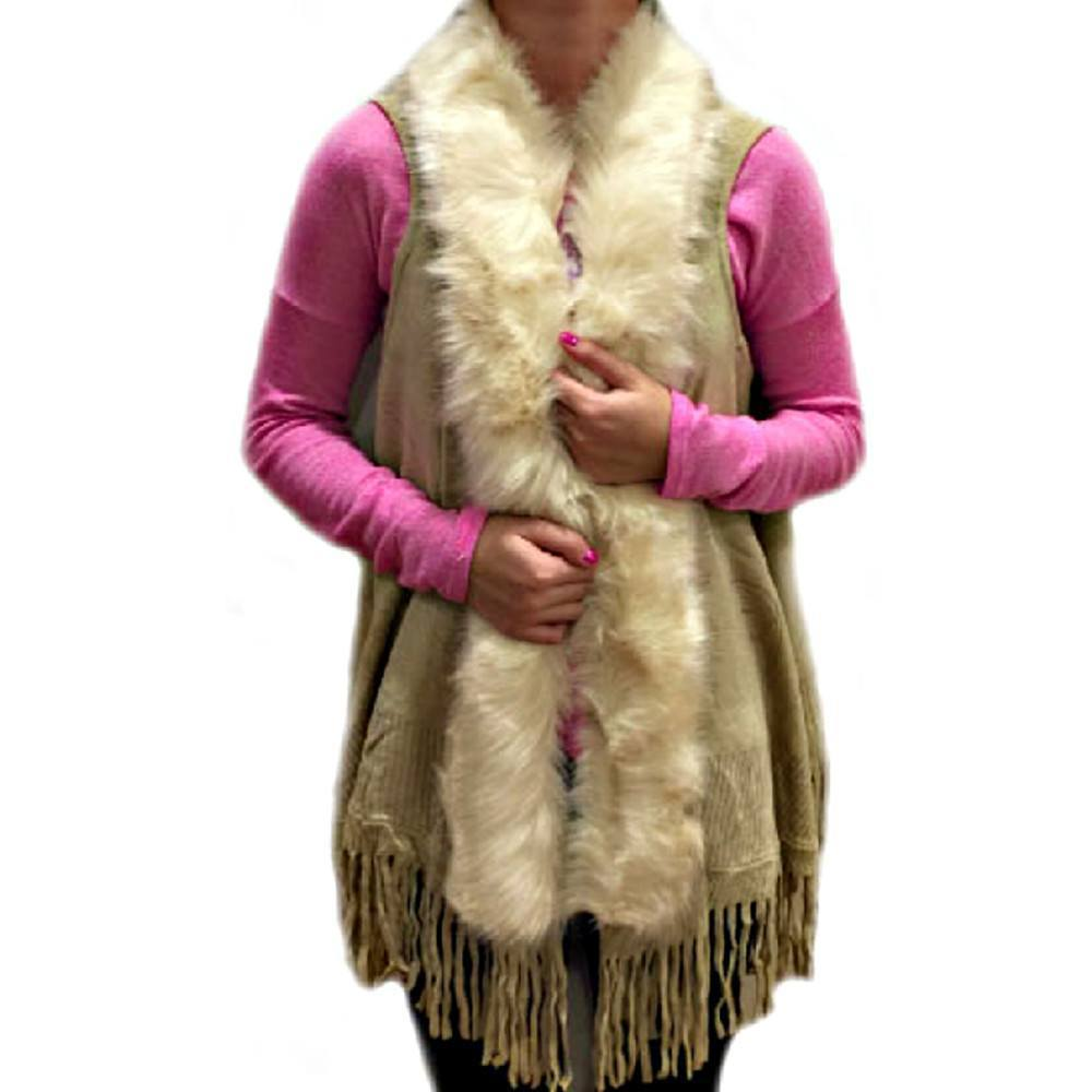 Fashion - Poncho Vest Style Cardigan With Tassels - #17189