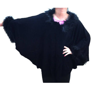 Fashion - Poncho W/ Imitation Fox Fur - #17192