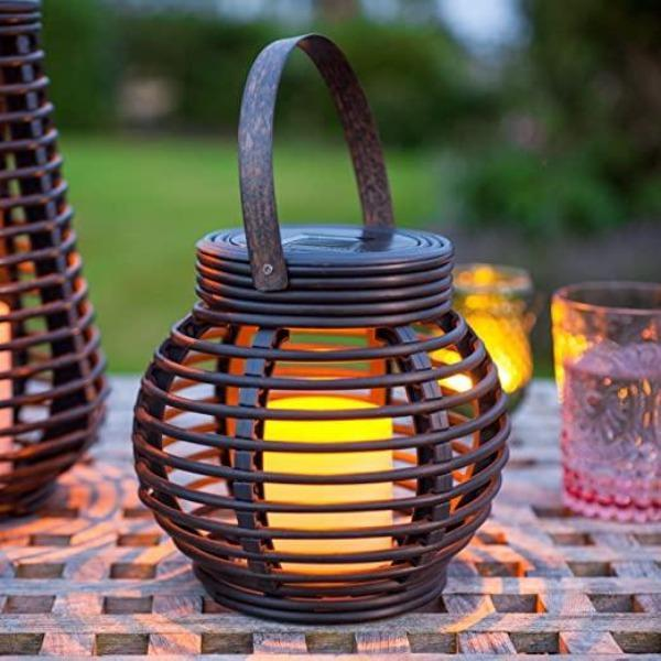 Round Rattan Solar Powered LED Garden Lantern