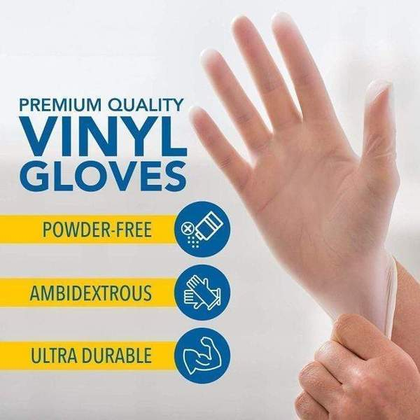 100 Pieces Clear Non-Sterile Powder Free Disposable Protective Vinyl Gloves