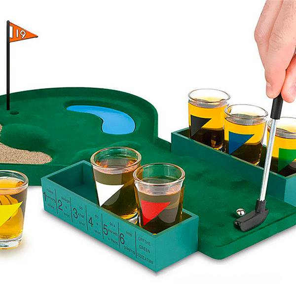 """Mini Table Top Golf Drinking Game Combo"" Adult Drinking Game 2 to 6 Players With Shot Glasses"