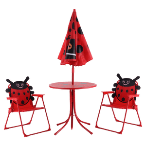 Kids Patio Folding Table and 2 Chairs Set with Height Adjustable Sun Umbrella
