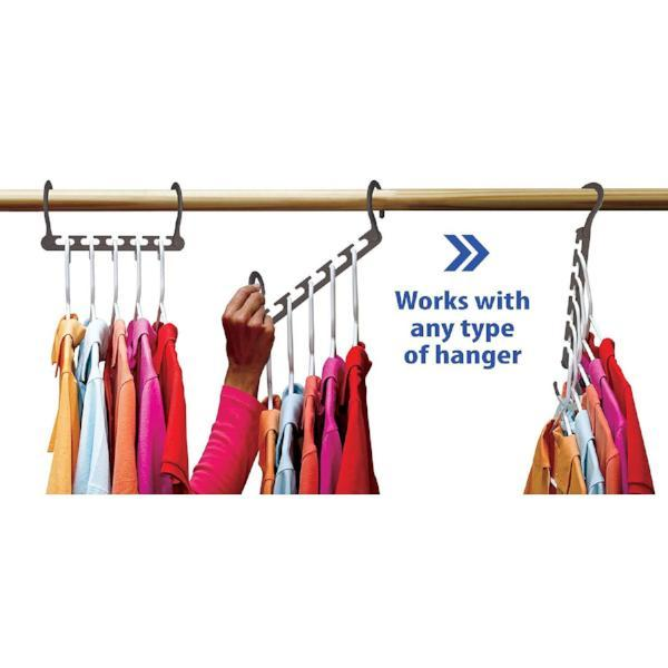 8 Pack: Universal 5-Slot Space-Saving Smart Hanger