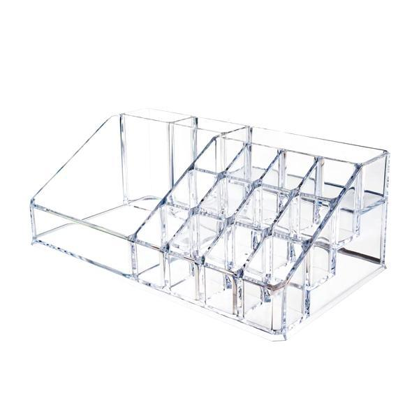 Health & Beauty - 16-Compartment Acrylic Cosmetic Storage Organizer