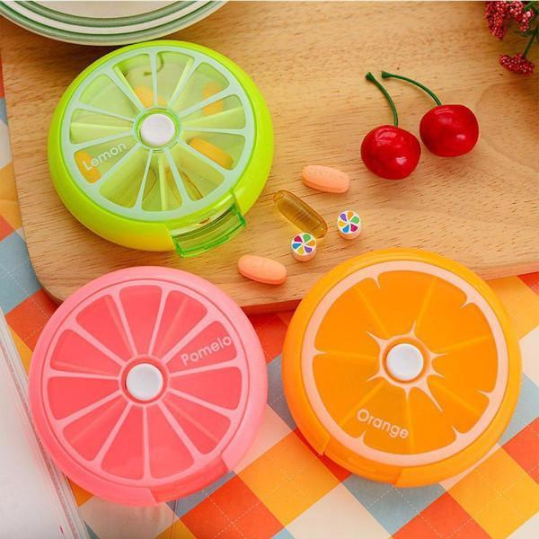 Health - Citrus Slice Rotating Medicine Case & Dispenser