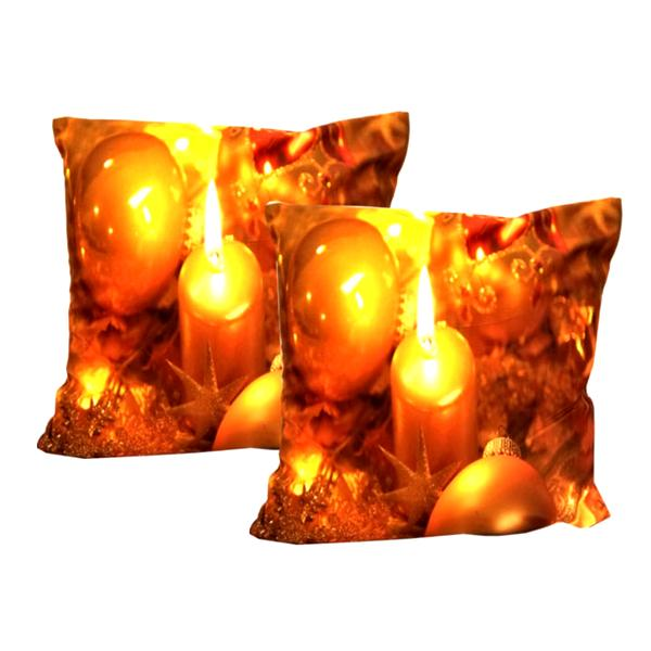 "Holiday - ""Candlelight Carol"" Golden Ornament Festive Holiday Decor Toss Cushion"
