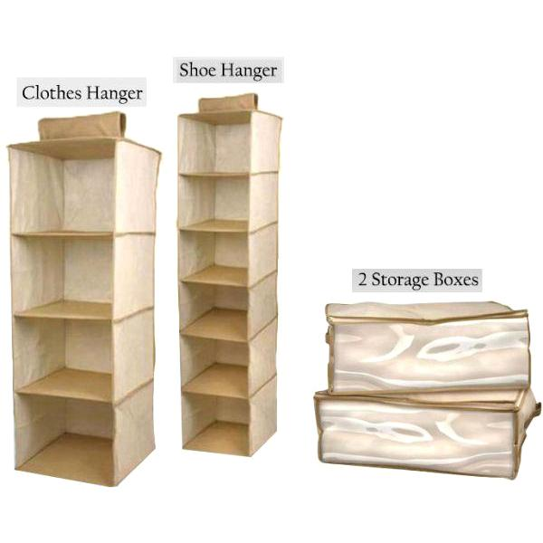 Home 4 piece closet organizer set with clothing organizer shoe organizer and blanket