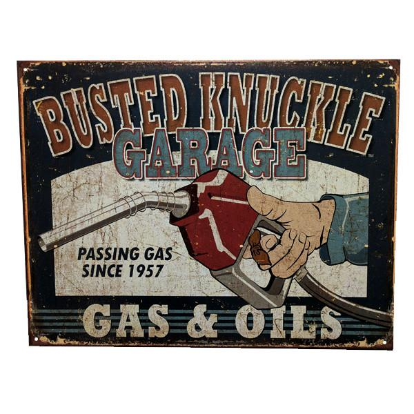 "Home - ""Busted Knuckle Garage - Gas & Oils"" Vintage Collectible Metal Wall Decor Sign - 16"" X 12.5"""