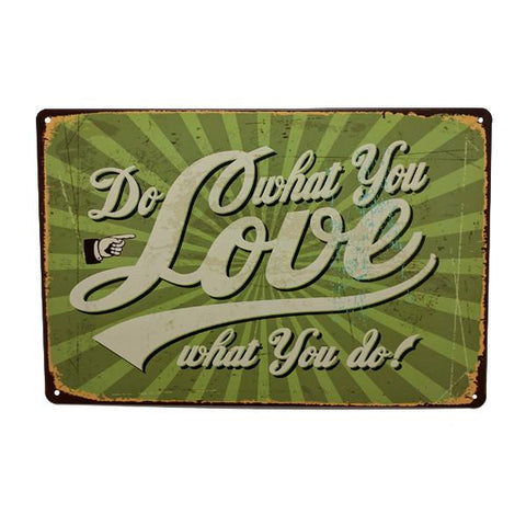 "Home - ""Do What You Love, Love What You Do"" Vintage Collectible Metal Wall Decor Sign"