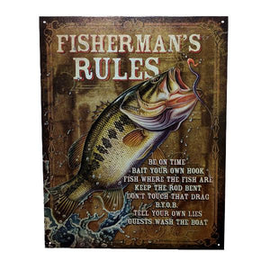 "Home - ""Fisherman's Rules"" Vintage Collectible Metal Wall Decor Sign - 16"" X 12.5"""