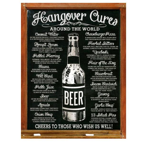 "Home - ""Hangover Cures Around The World"" Vintage Collectible Metal Wall Decor Sign - 16"" X 12.5"""