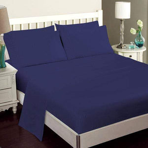 Luxury Bamboo Bed Sheet Set In Oxford Blue