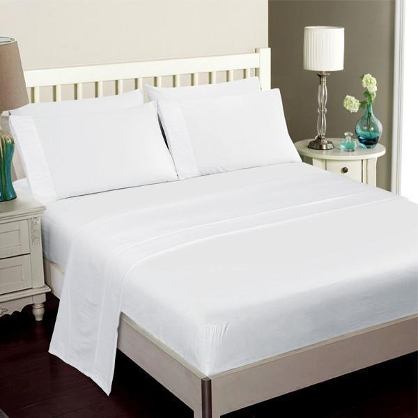 Luxury Bamboo Bed Sheet Set In White