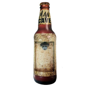 "Home - ""Man Cave"" Mountable Bottle Shaped Metal Cap Opener And Catcher"