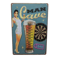 "Home - ""Man Cave"" Rules Vintage Collectible Metal Wall Decor Sign"