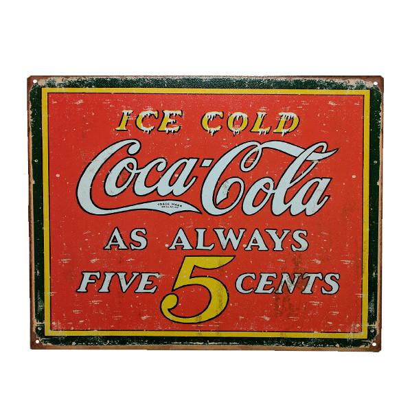 "Home - Retro Coca-Cola ""Always Five Cents"" Vintage Collectible Metal Wall Decor Sign - 16"" X 12.5"""