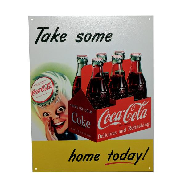 "Home - Retro Coca-Cola ""Take Some Home Today!"" Vintage Collectible Metal Wall Decor Sign - 16"" X 12.5"""
