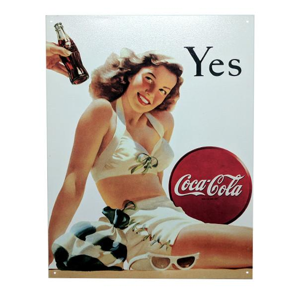 "Home - Retro Coca-Cola ""Yes"" Advertisement Vintage Collectible Metal Wall Decor Sign - 16"" X 12.5"""