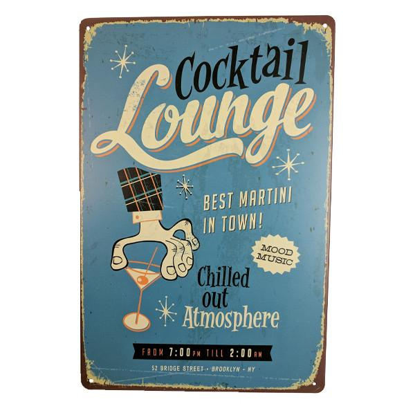 Home - Retro Cocktail Lounge Vintage Collectible Metal Wall Decor Sign